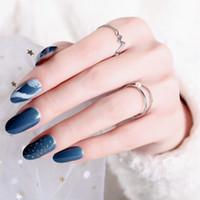 поддельные свадебные ногти оптовых-24pcs/Set wedding bride False Nails with designs Dark Green Shading Medium length Full Nail Tips Acrylic Fake artificial nails