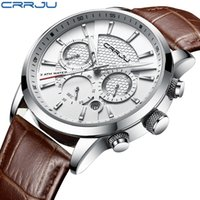 Wholesale men leather band quartz watches for sale - Group buy CRRJU New Fashion Men Watches Analog Quartz Wristwatches M Waterproof Chronograph Sport Date Leather Band Watches montre homme
