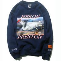 толстовки с капюшоном пуловеры оптовых-Heron Preston Hoodie Hip Hop Crane Печать Толстовки Мужчины Женщины Пуловеры Streetwear Heron Preston Дизайнер Толстовки Черный Синий