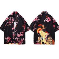 gueixa masculina venda por atacado-Mr.1991INC Moda Verão Japão Roupas Homens Quimono Quimonos Japoneses Tradicionais Camisa Masculina Impressão Geisha Cereja Flores 2 Cores