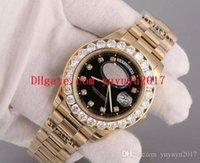 diamants super or achat en gros de-montre de luxe homme montres Super Day Date Or 18K Diamant Lunette Cadran Mécanique automatique verre saphir Date modèle horloge xll