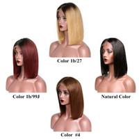 siyah kadınlar için ombre perukları toptan satış-Perulu Düz Ombre İnsan Saç Dantel Ön Peruk Ucuz 613 sarışın Kısa Bob Dantel Peruk Siyah Kadınlar için bebek saç ile