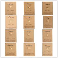 12 zeichen tierkreis großhandel-Hot 12 tierkreis Halsketten mit geschenk karte konstellation zeichen Anhänger Gold ketten Halskette Für Männer Frauen Modeschmuck in groß