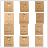 Wholesale zodiac pendants for men for sale - Group buy Hot zodiac Necklaces with Gift card constellation sign Pendant Gold chains Necklace For Men Women Fashion Jewelry in Bulk
