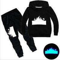 büyük erkekler hoodie toptan satış-Tasarımcı Bebek Giyim Çocuk Eşofman büyük Boy Aydınlık Hoodies Bebek Kazak Gömlek + pantolon 2 adet Suit Çocuk Kız Kıyafetler 3-14Y CQZ172B