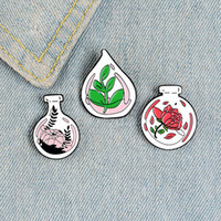 Wholesale gold silver pots resale online - Potted Plants Enamel Pin Custom Bottles Brooches Clothes Shirt Lapel Backpack Badges Flowers Jewelry Gift for Friends