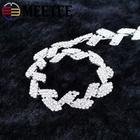 Wholesale crystal trim for wedding dresses resale online - Meetee Leaf Rhinestone Lace Trim Ribbon Diamond Crystal Chain DIY Wedding Dress Decoration for Sewing Clothing Accessories AP092