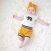 Wholesale baby clothing online - kids designer clothes Newborn Baby Girls Clothes Set Cute Elephant Tops Off Shouler Romper Shorts Bottoms Headband Outfits
