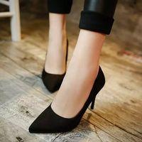 tacones de terciopelo negro al por mayor-Trabajo Tallarines Terciopelo Esteras de otoño Zapatos negros de tacón alto Fino con boca baja Afilado Sexy Thin Ocupación Honor2019 Zapatos