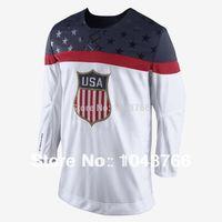 olimpik hokey formaları beyaz toptan satış-Fabrika Outlet, Yeni 2014 Soçi Olimpiyat Takımı ABD Hokey Forması Beyaz Buz Hokeyi Dikişli Amerikan Takımı ABD Olimpiyat Hokeyi Forması