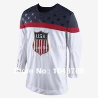 олимпийские хоккейные майки белые оптовых-Factory Outlet, новейшая олимпийская сборная США по хоккею 2014 года, белый хоккей с шайбой, сборная США, олимпийский хоккейный футбол США
