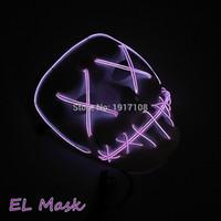 nueva máscara femenina al por mayor-Nuevo diseño creativo máscara de Holloween El Wire Led Light Ghost Dance máscara brillante hombres y mujeres máscara negra para decoración de fiesta