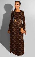 frauen clubwear großhandel-Frauen Designer-Maxikleid bodenlange einteiliges Kleid hohe Qualität loser Rock eleganter Luxus Clubwear heiß klw2458