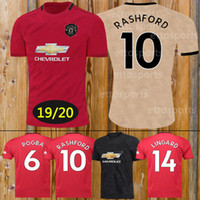 Wholesale blue gold sets online - Thailand EA SPORTS Manchester POGBA man soccer jersey NEW LUKAKU RASHFORD football kit United UTD jersey ADULT shirt KID SET