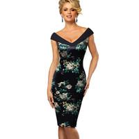 vestido de mujer de contraste de negocios al por mayor-Contraste de color de la vendimia Elegante Flor Impreso Sexy Hombro Vestidos Fiesta de Negocios Bodycon Vaina Vestido de las mujeres