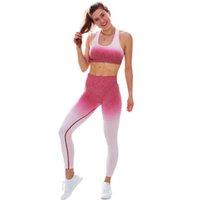 sexy profi-anzug groihandel-Schöne junge Steigung-Farben-Frauen Fitness Anzüge Professionelle Yoga Sport Gymnastik im Freien Lauf Sets Sexy Rückenfreies Top-lange Hosen