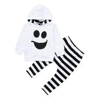 sudadera niño 3t al por mayor-Funny Halloween Toddler Baby Boys Girls Conjuntos encapuchados Tops Pullover Pantalones a rayas Trajes Otoño Manga larga Sudadera Niños