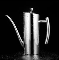 бутылочный фонтан оптовых-Бутылка масла распылитель,из нержавеющей стали оливковое масло/диспенсер для соуса с капельного-бесплатно излив длинный рот,герметичный управляемый горшок контейнер уксуса