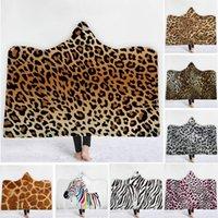 manto de roupão de banho venda por atacado-Cobertor Com Capuz de leopardo Veludo Espessamento Sherpa Robes família manto 15 cores toalha de banho C6460