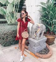 ingrosso vestito sexy dalla moda coreana-2019 Summer Wrapped Dress V Neck Ruffles Sexy Mini Dress Slim Bodycon Vacanze Beach Smock Moda coreana
