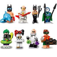 relógios de construção venda por atacado-DC Super Hero Building Blocks Harley Quinn Relógio Rei Batman Alfred Dr. Hugo Strange Robin Joker Mini Toy Action Figure