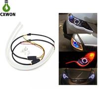 esnek drl toptan satış-Araba için zikzaklı LED DRL Esnek 60CM Çift Renkli LED Su Akışı Işık Sinyal Kılavuzu Far Neon Işık