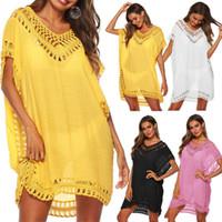 ingrosso abiti nuziali gialli-New 2019 Kaftan Tunica Beach Dress Donna Bikini Swim Cover Ups Summer Swimsuit Cover Up Boho White Yellow Abiti Pareo Cover-up Y19060301