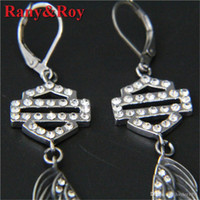Wholesale newest wing jewelry for sale - Group buy 2pairs newest clean crystal shiled biker style earrings L stainless steel fashion jewelry girls wings motorbiker earrings