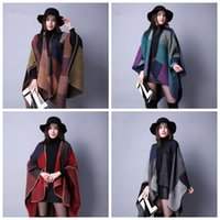 Wholesale cloak scarf resale online - New Winter Autumn And Winter Shawl Scarf Cashmere Lady All match Plaid Travel Europe Folk Style Split Thick Cloak ZZA960