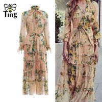 Wholesale opening breast dress resale online - Tingfly Designer Runway Floral Midi Long Dress Ruched Ruffles Open Single Breasted Party Dresses Women Flowy Boho Vestidos