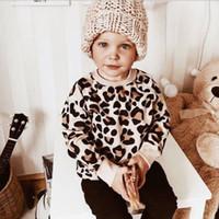 ingrosso vestiti da stampa del leopardo del bambino-US Toddler Kid Baby Girl Boy Leopard Print Top T-Shirt Felpe Abiti
