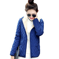 Wholesale liner spring resale online - women winter jacket hooded fleece solid coat spring thin outerwear female short parka zipper jaqueta feminina