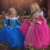 rapunzel cosplay kostüm toptan satış-5-14 Yıl Külkedisi Elbise Kız Paskalya Parti Elbise Uyku Güzellik Prenses Elbise Rapunzel Karnaval Cosplay Kostüm Çocuklar Için
