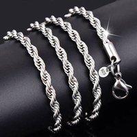 925 silberne seilkette halskette großhandel-YHAMNI 100% Original 925 Silber Halskette Frauen Männer Geschenk Schmuck 3mm