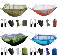 Wholesale camping hammocks resale online - Outdoor Hammock with Mosquito Net Ultralight Nylon People Camping Aerial Tent Sleeping Pad Portable Camping Bed Folding Pad