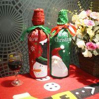 kırmızı hediye eşyaları toptan satış-Aile Noel Dekoratif Öğeler Yaratıcı Noel Baba / Kardan Adam Kırmızı Şarap Hediye Çanta Kırmızı / Yeşil Şampanya Ceket