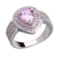 zirkonia edelstein ring großhandel-Frauen Silber Überzogene Österreichische Kristall Ringe Zirkonia Diamant Luxus Ring Edelstein Liebe Ringe für Hochzeitsfest Heißer Verkauf