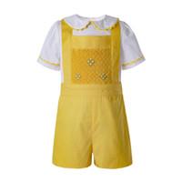 свадебный костюм мальчиков 2t оптовых-Pettigirl Yellow Baby Boys Летняя одежда Детская дизайнерская одежда Наборы для мальчиков с белой футболкой и желтыми повседневными шортами B-DMCS201-B490