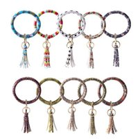Wholesale red sunflowers for sale - Group buy Tassel Bracelet Keychain Styles PU Leather Bangle Keychain Bracelets Sunflower Leopard Keyrings Wristbands Key Ring OOA7385