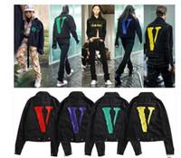nova mulher hip hop jeans venda por atacado-Grande V AMIGOS jaqueta Novo Estilo TOP Clássico V LOGO vermelho grande Impressão Pop Mulheres Homens jaqueta jeans Hip hop Skate Marca 6 cores