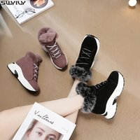 Wholesale brown lace up wedge boots for sale - Group buy SWYIVY Chaussures Nubuck Wedge Shoes Women Winter Boots Fashion Plush Ankle Boots For Women Height Increased Solid Booties
