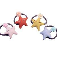ingrosso stelle dei capelli accessori-4pcs capelli cravatta pizzo palla decorativa a forma di stella accessori per capelli anello ponytil titolare corda per bambini bambini bambine