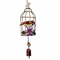 cage jaune achat en gros de-HD Main Jaune Oiseau Avec BirdCage Carillons À Vent En Métal Suncatcher Capteur De Rêves Décor Maison Jardin Ornement