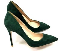 зеленые туфли на высоком каблуке оптовых-Черно-зеленые замшевые оранжево-красные женские красные низ туфли на каблуках 10см большой размер 45 каспов Тонкий каблук Одиночные туфли Ночной клуб платье невесты свадьба