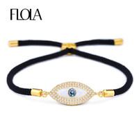 türkische augen großhandel-FLOLA Türkisches Gold Evil Eye Armband für Frau CZ Zirkon Muschelauge Handgemachtes Schwarzes Seil Mann Armband Schmuck Geschenk Pulseira brta87