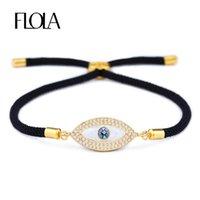 bracelet de mauvais oeil pour les hommes achat en gros de-FLOLA Turkish Gold Evil Eye Bracelet pour Femme CZ Zircon Shell Eye À La Main Noir Corde Homme Bracelet Bijoux Cadeau Pulseira brta87