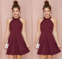 Wholesale woman white dress knee length for sale - Group buy 2019 Halter Backless Burgundy A Line Above Knee Length Prom Homecoming Gowns Custom Made Women Formal Wear Sexy Short Cocktail Party Dresses