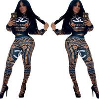 nouveau pantalon décontracté pour femme achat en gros de-Navire gratuit 2019 nouvelles femmes mode d'impression Zipper Neck survêtement Casual veste de baseball mince et pantalon ensemble tenues féminines