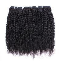 Wholesale human afro kinky bundle hair weave resale online - Afro Kinky Curly Hair Bundles Brazilian Peruvian Indian Virgin Hair or Bundles Inch Remy Human Hair Extensions