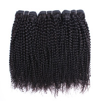 kinky indian insan saçı toptan satış-Afro Kinky Kıvırcık Saç Demetleri Brezilyalı Perulu Hint Bakire Saç 3 veya 4 Demetleri 10-28 Inç Remy İnsan Saç Uzantıları